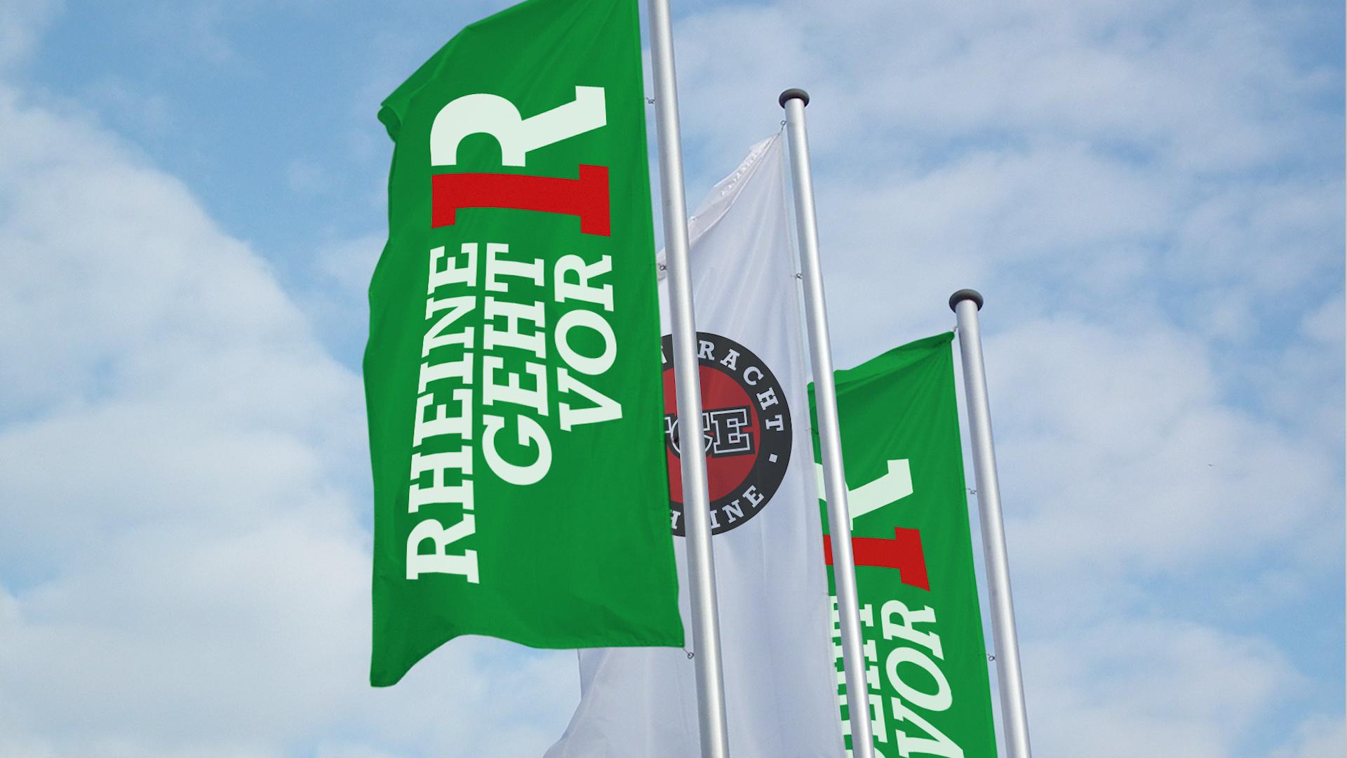 02 FCE RGV Fahnen - Unterstützung für die Helfer – Corporate Design, Logoentwicklung, Grafikdesign, Kommunikationsdesign, Branding, Markenentwicklung, Werbetechnik