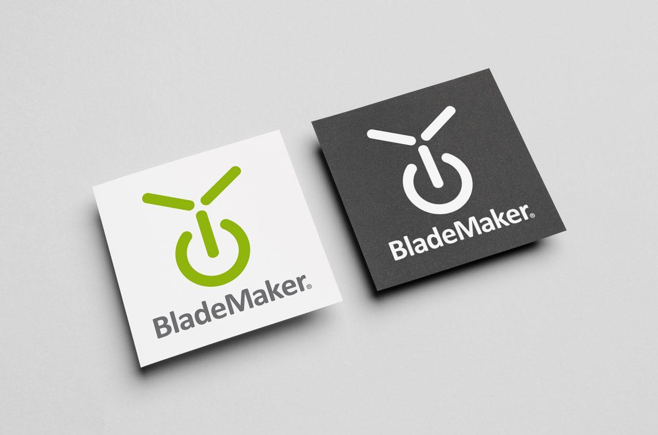 Das neue BladeMaker-Logo in Farbe und Schwarz-Weiß