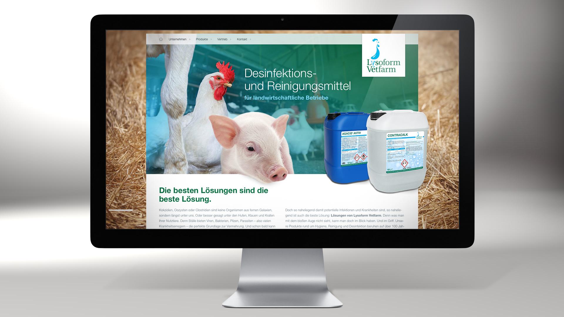 lysoform vetfarm website 1 02 - Eine neue Marke auf starke Füße gestellt – Corporate Design, Logoentwicklung, Grafikdesign, Webdesign, Kommunikationsdesign, Branding, Markenentwicklung