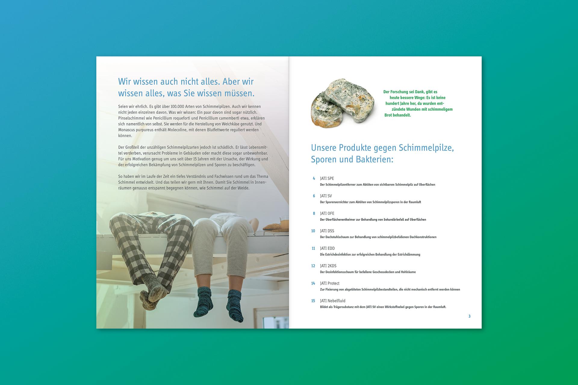 jati produktbroschuere 02 - Dem Schimmel sei Dank: Ein ganz frischer Markenauftritt für JATI – Corporate Design, Logoentwicklung, Grafikdesign