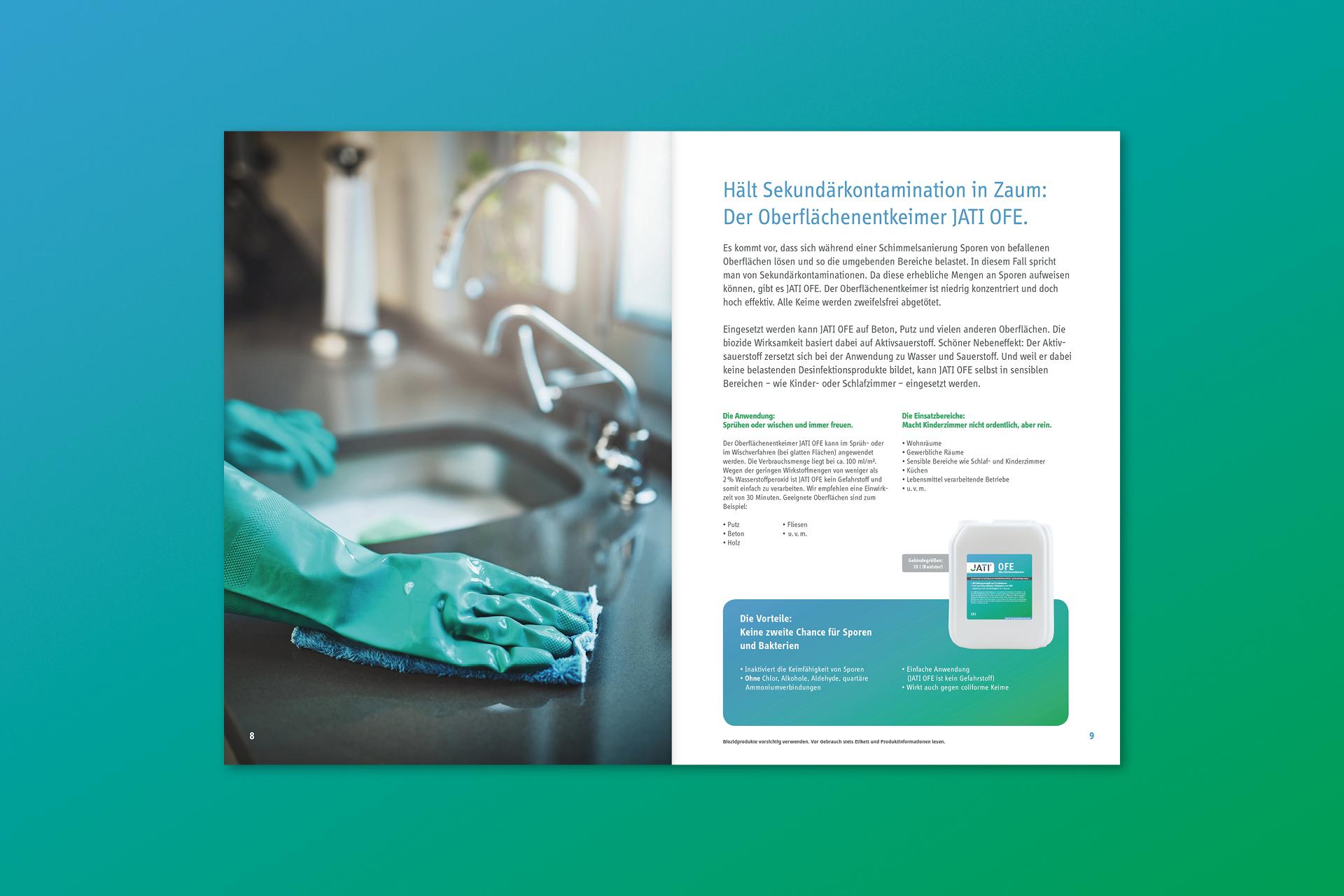 jati produktbroschuere 04 - Dem Schimmel sei Dank: Ein ganz frischer Markenauftritt für JATI – Corporate Design, Logoentwicklung, Grafikdesign
